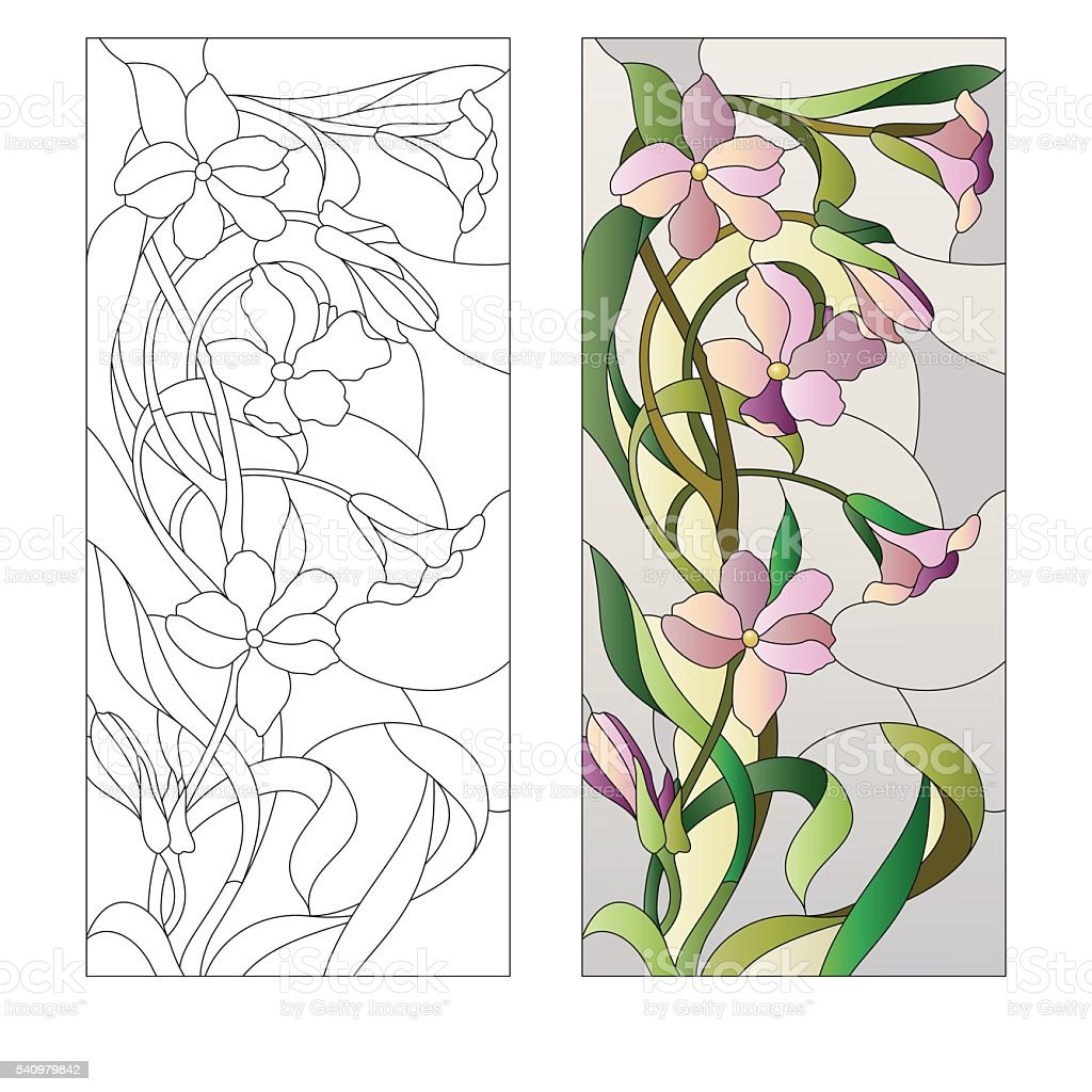 floral stained-glass pattern vector art illustration