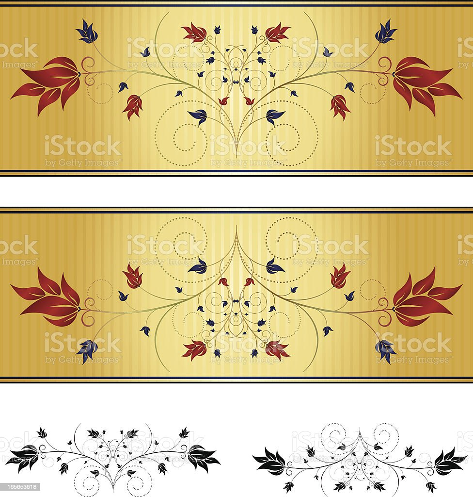 Floral Windung Hintergrund Design-Elemente-Set-Blau, Rot und Gold Lizenzfreies vektor illustration