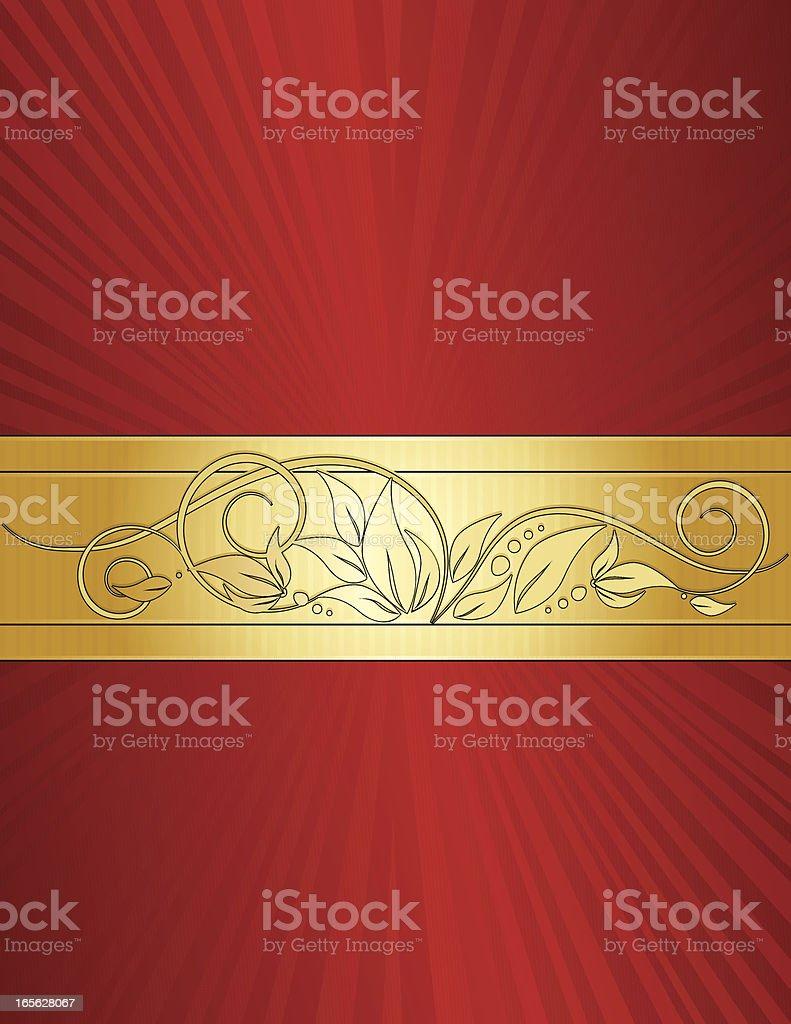 Floral Windung Hintergrund Design-Rot und Gold Lizenzfreies vektor illustration