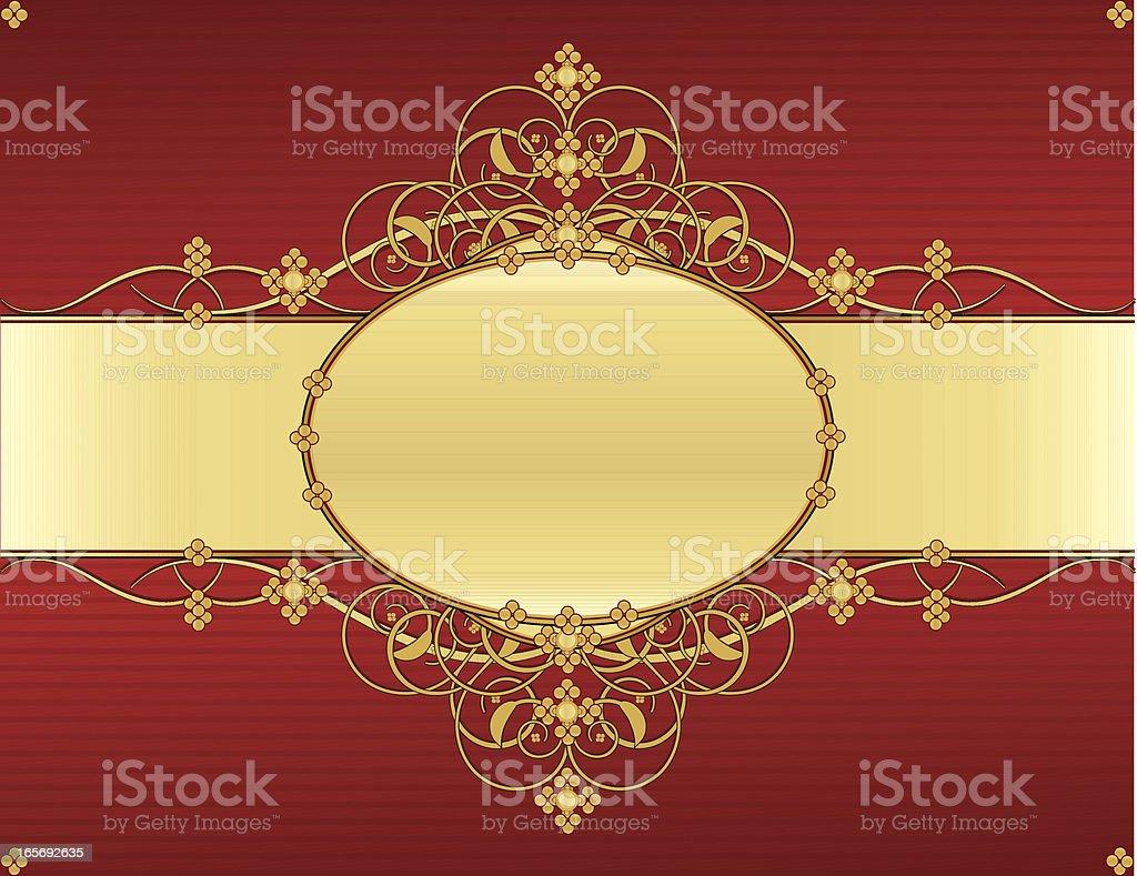 Floral Windung Hintergrund Design-Rot, glänzendes Gold Lizenzfreies vektor illustration