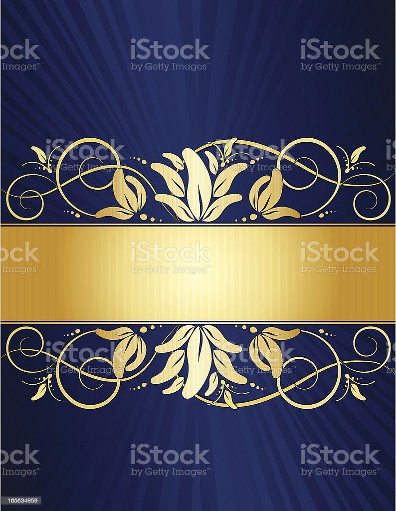 Floral Windung Hintergrund Design-sattem Blau und Gold Lizenzfreies vektor illustration