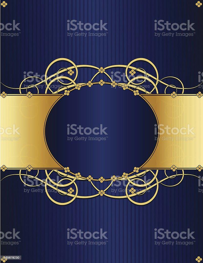 Floral Windung Hintergrund Design-Tiefblau und glänzendes Gold Lizenzfreies vektor illustration