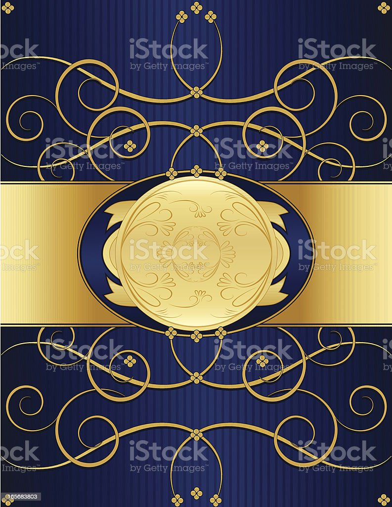 Floral Swirl Background Design - Rich Blue and Shiny Gold royalty-free stock vector art