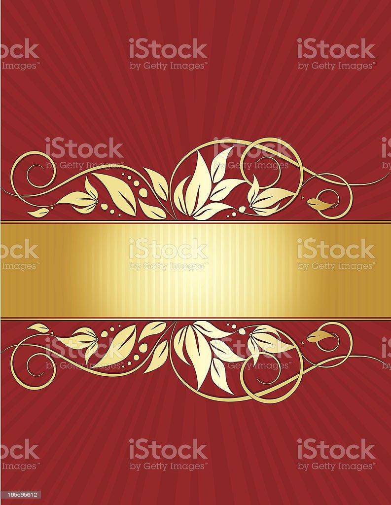 Floral Windung Hintergrund Design-Serie in Rot und Gold Lizenzfreies vektor illustration