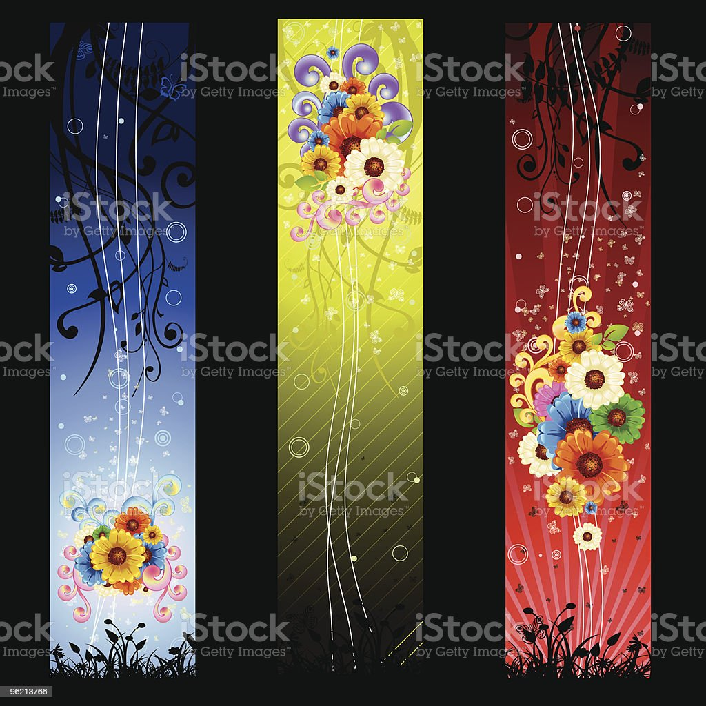 floral swirl beautiful banners royalty-free stock vector art