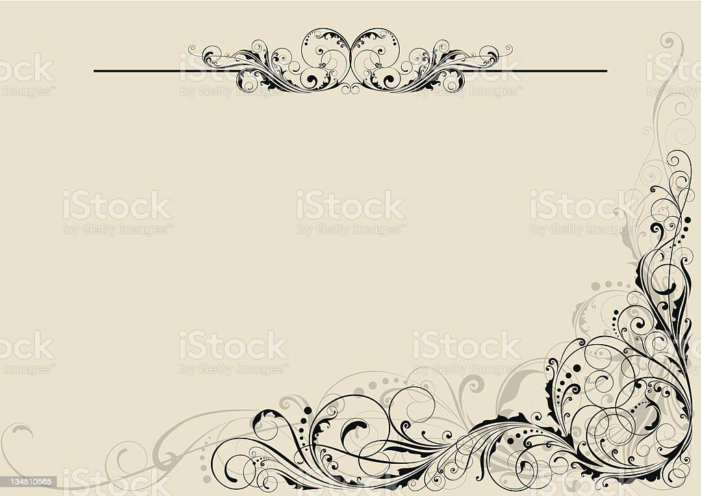 Floral swirl ornamental design royalty-free stock vector art