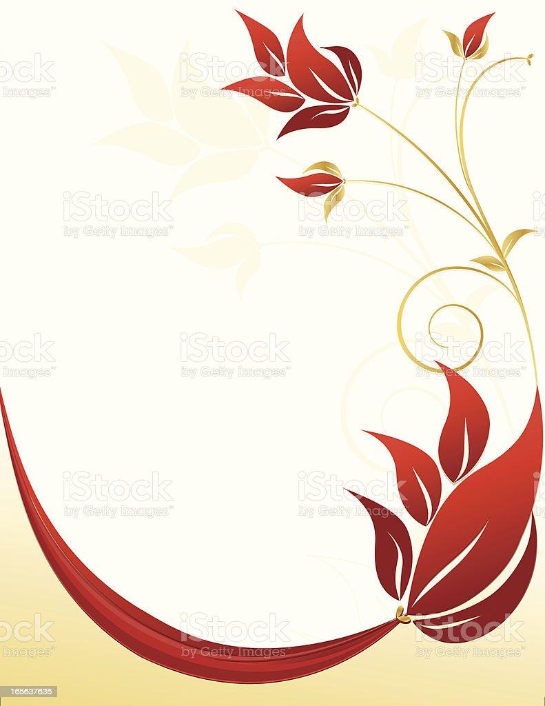 Wirbeln Blumen Hintergrund und Design-Rot, Gold Lizenzfreies vektor illustration