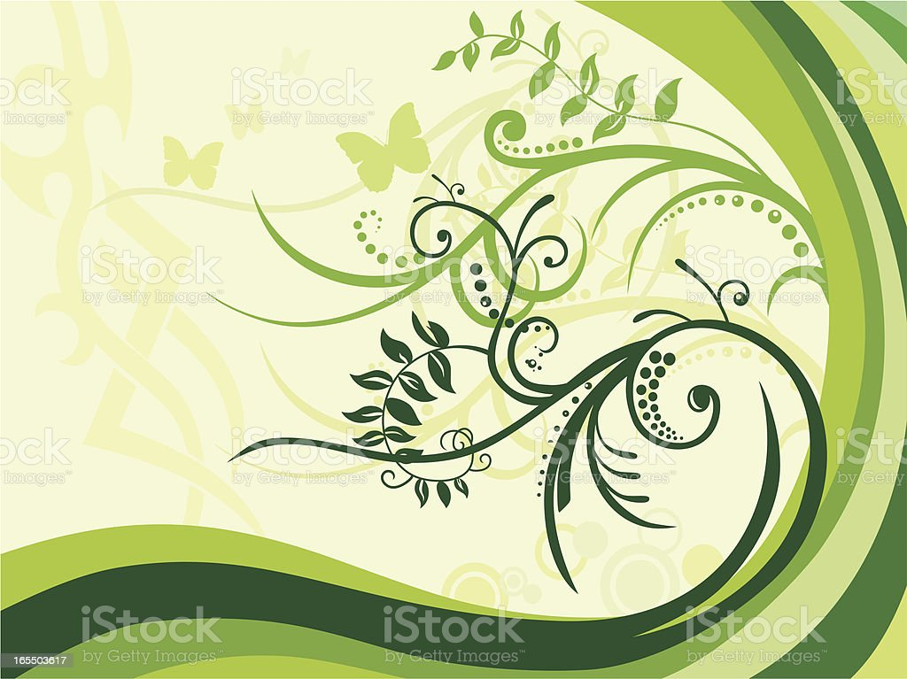 Floral Swirls in Spring royalty-free stock vector art