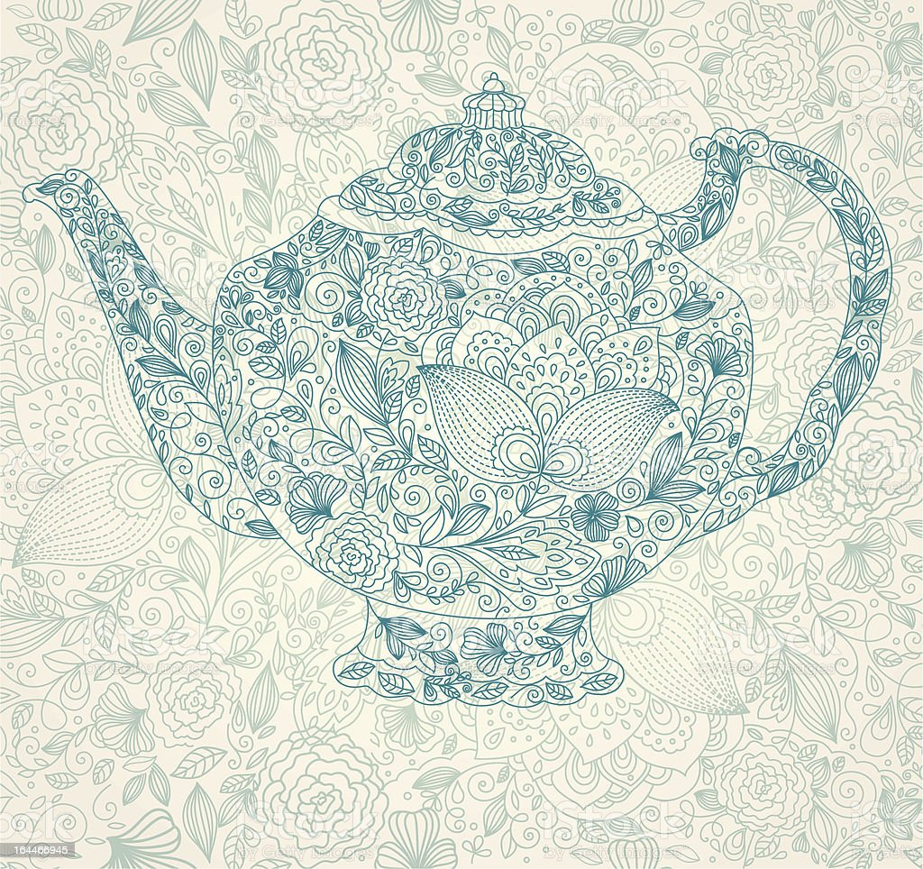 A floral teapot illustration in blue vector art illustration