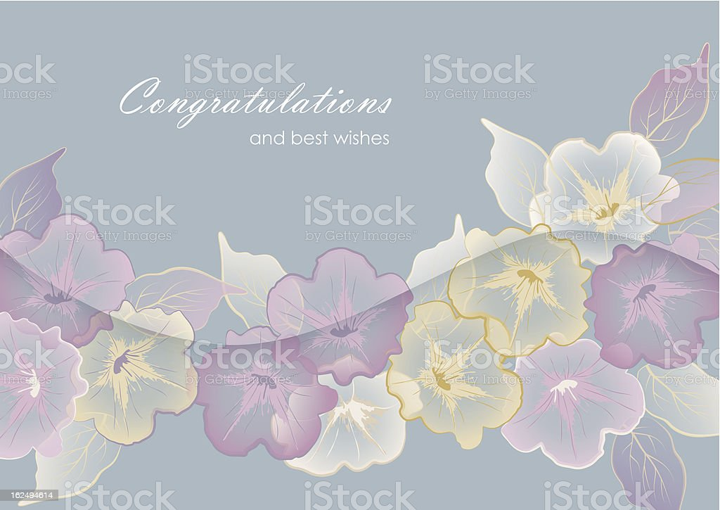 Floral template greeting card with pastel flowers royalty-free stock vector art