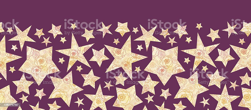 Floral Textured Stars Silhouettes Horizontal Seamless Pattern Ornament royalty-free stock vector art