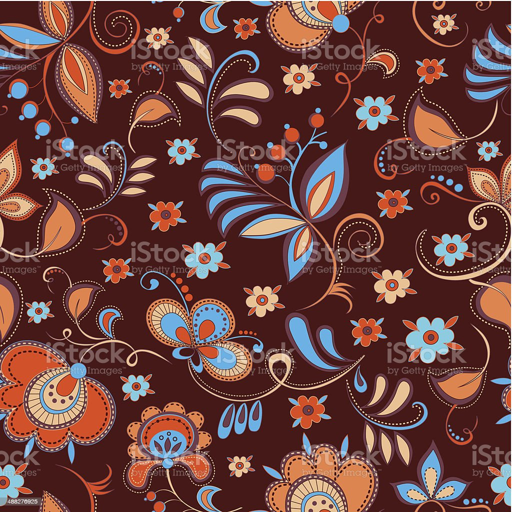 floral theme seamless pattern royalty-free stock vector art