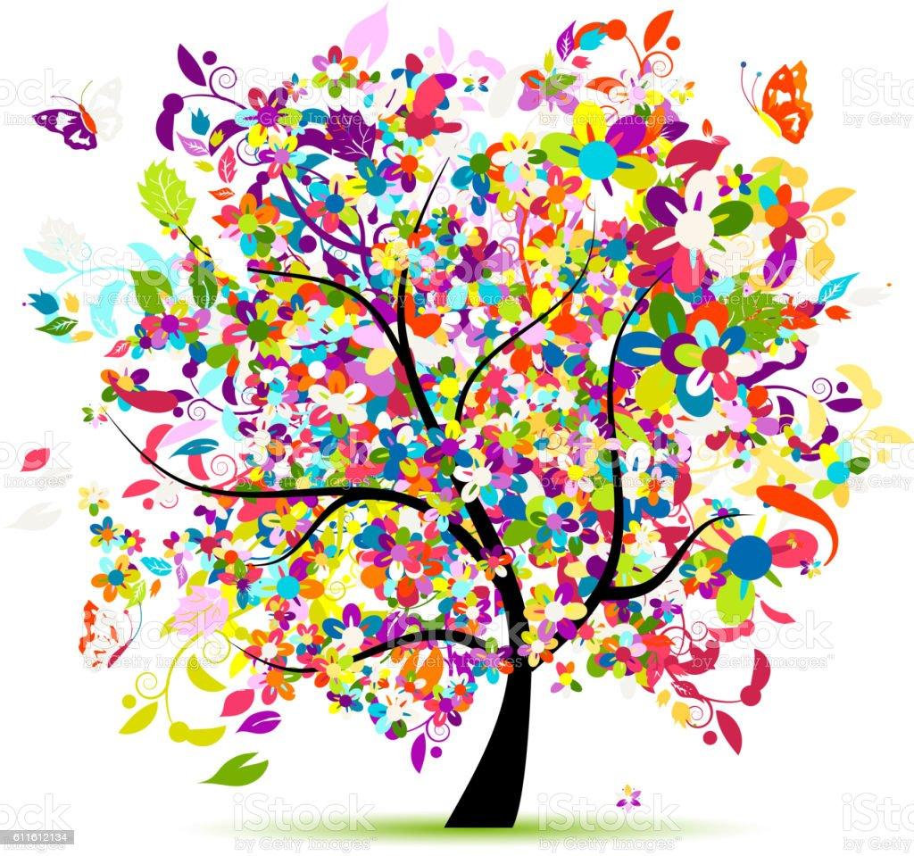 Floral tree for your design vector art illustration