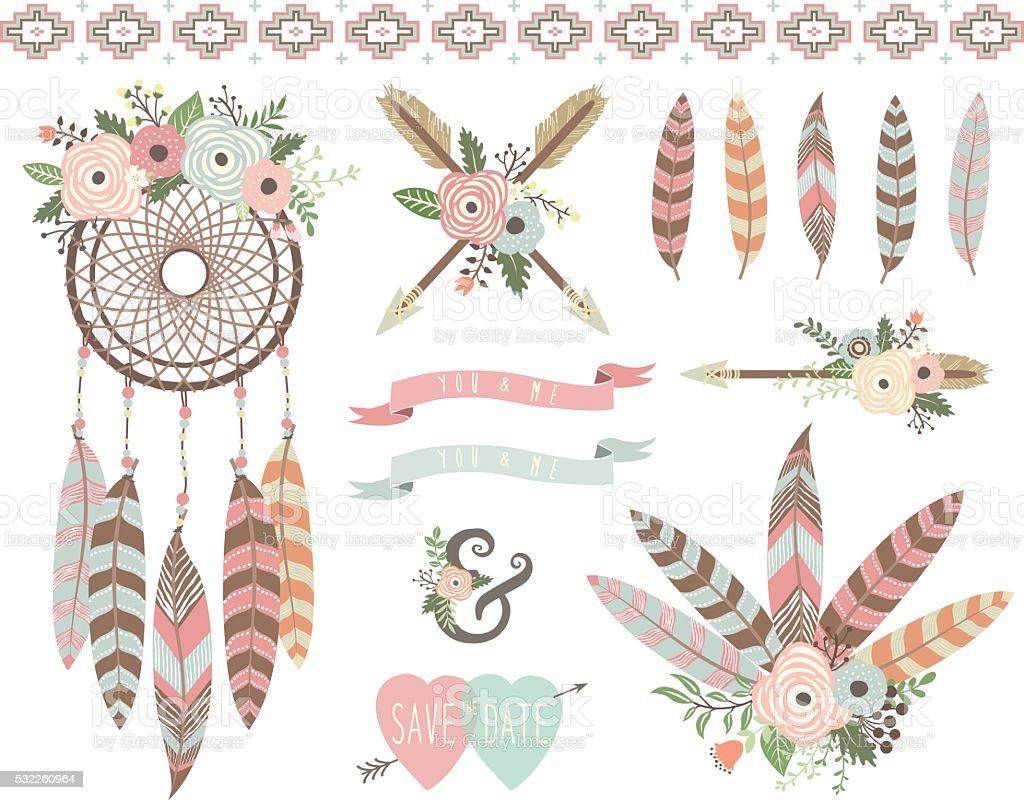 Floral Tribal Elements vector art illustration