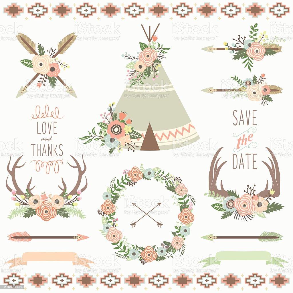 Floral Tribal- illustration vector art illustration