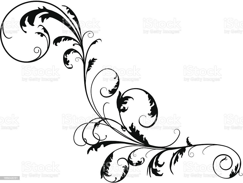 Floral Twirly Scroll royalty-free stock vector art