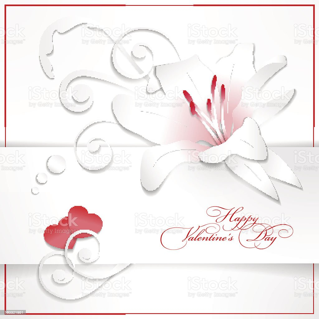 Floral Valentine's day white background with hearts royalty-free stock vector art