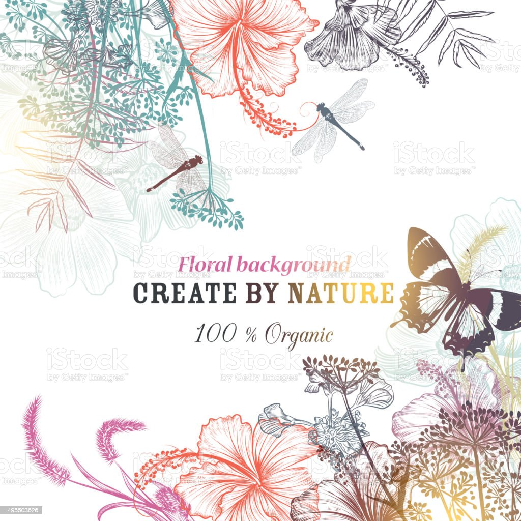 Floral vector background with engraved flowers hibiscus, dragonf vector art illustration