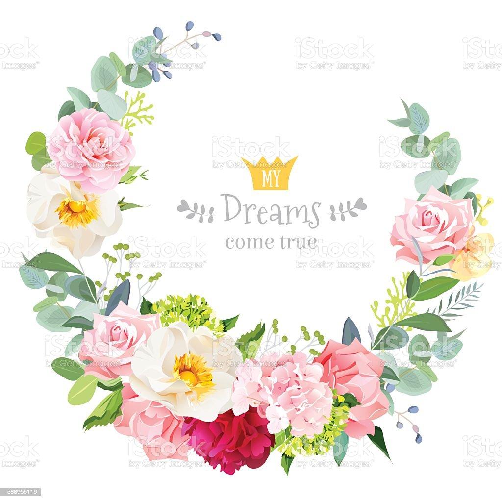 Floral Vector Design Round Frame Rose Peony Hydrangea Camellia Carnation Stock Vector Art