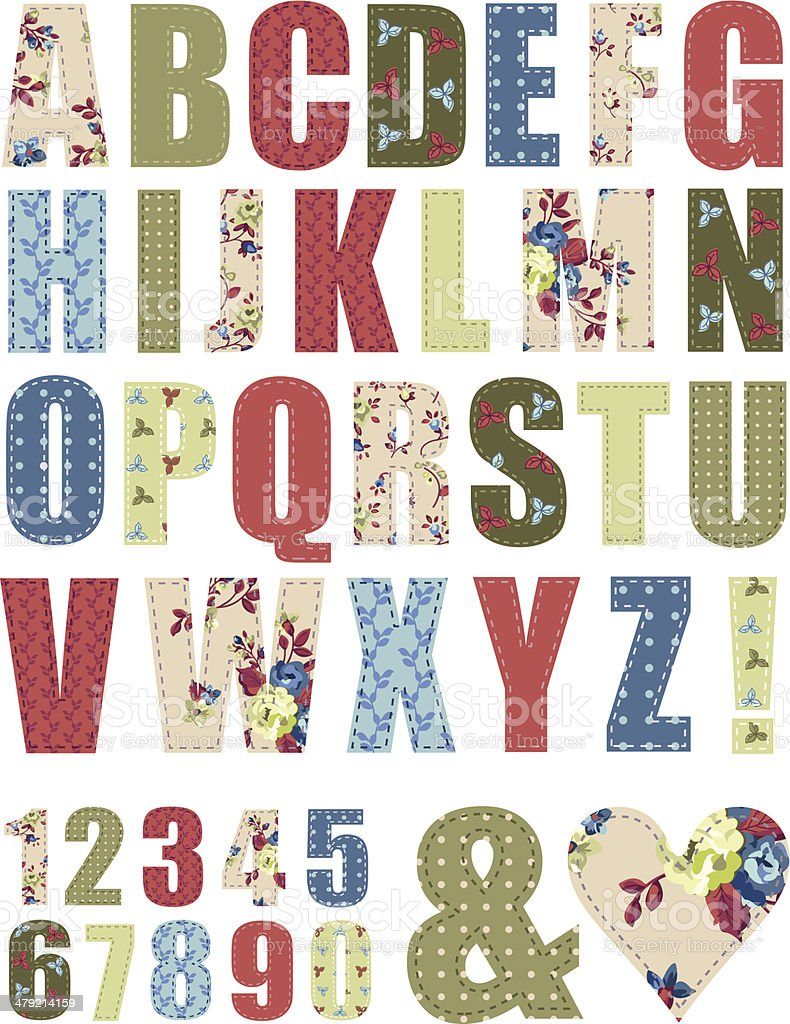 Floral Vector Pattern Alphabet Letter Set vector art illustration