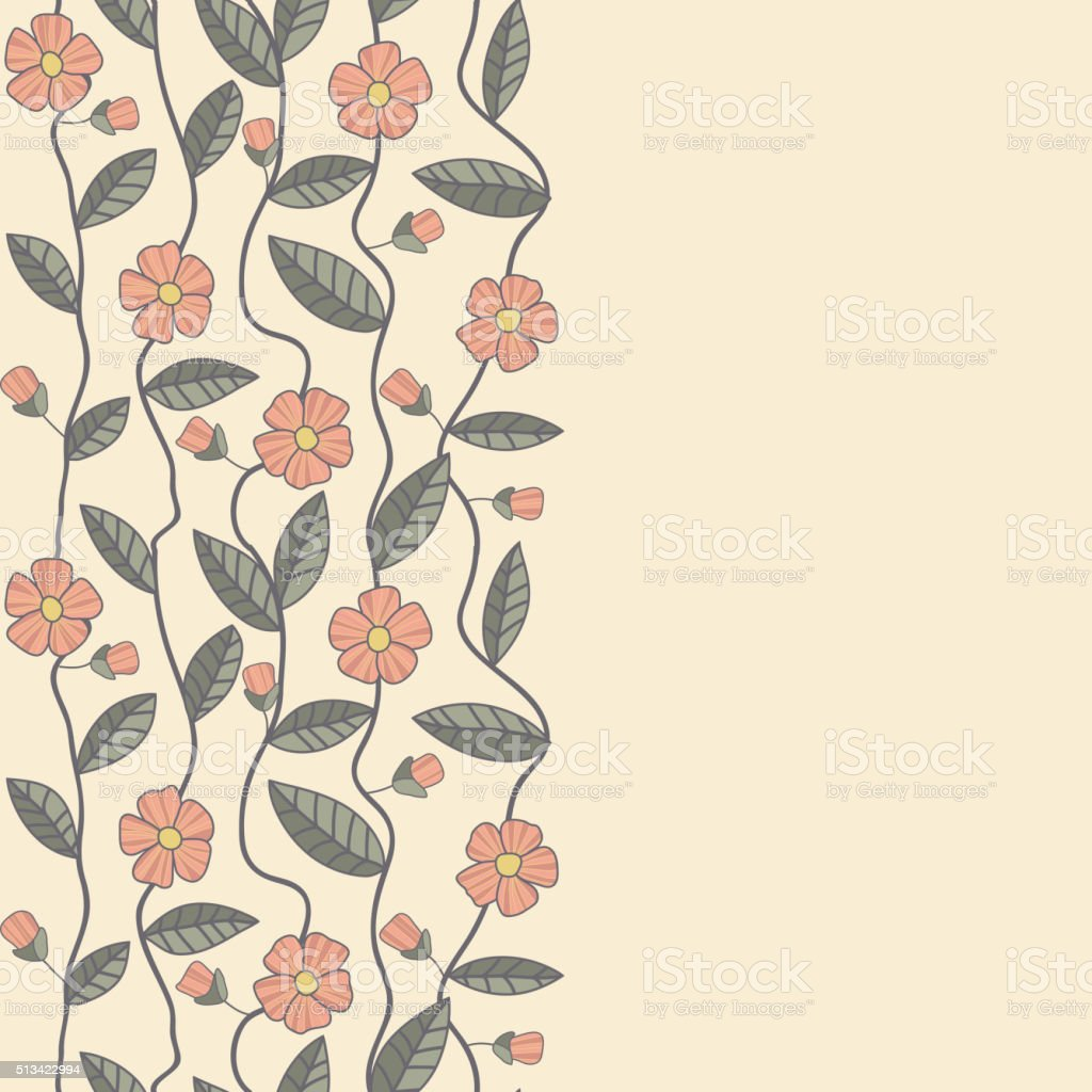 Floral vector pattern. Seamless doodle flowers. vector art illustration