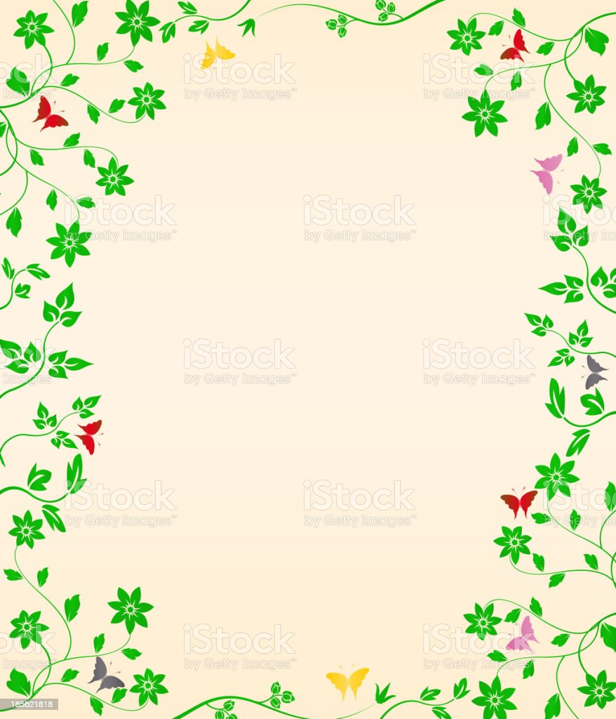 Floral vegetation with butterflies royalty-free stock vector art