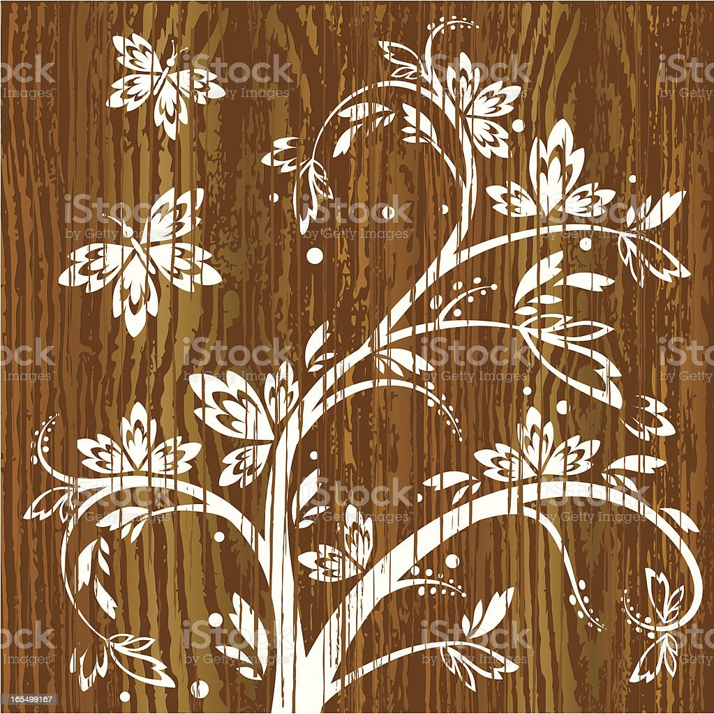 Floral Vines with Butterflies on Wood royalty-free stock vector art