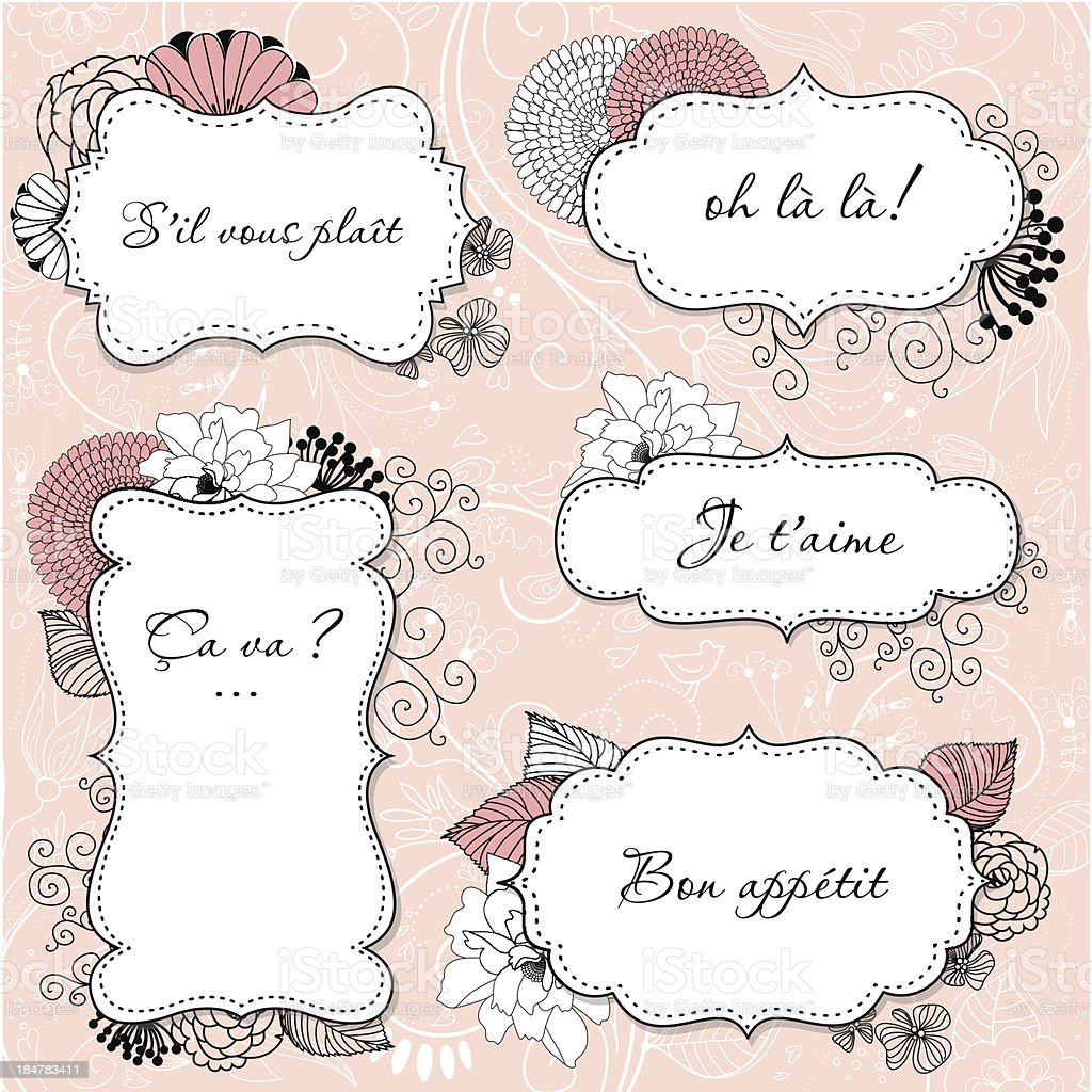 Floral Vintage Frames in french style royalty-free stock vector art