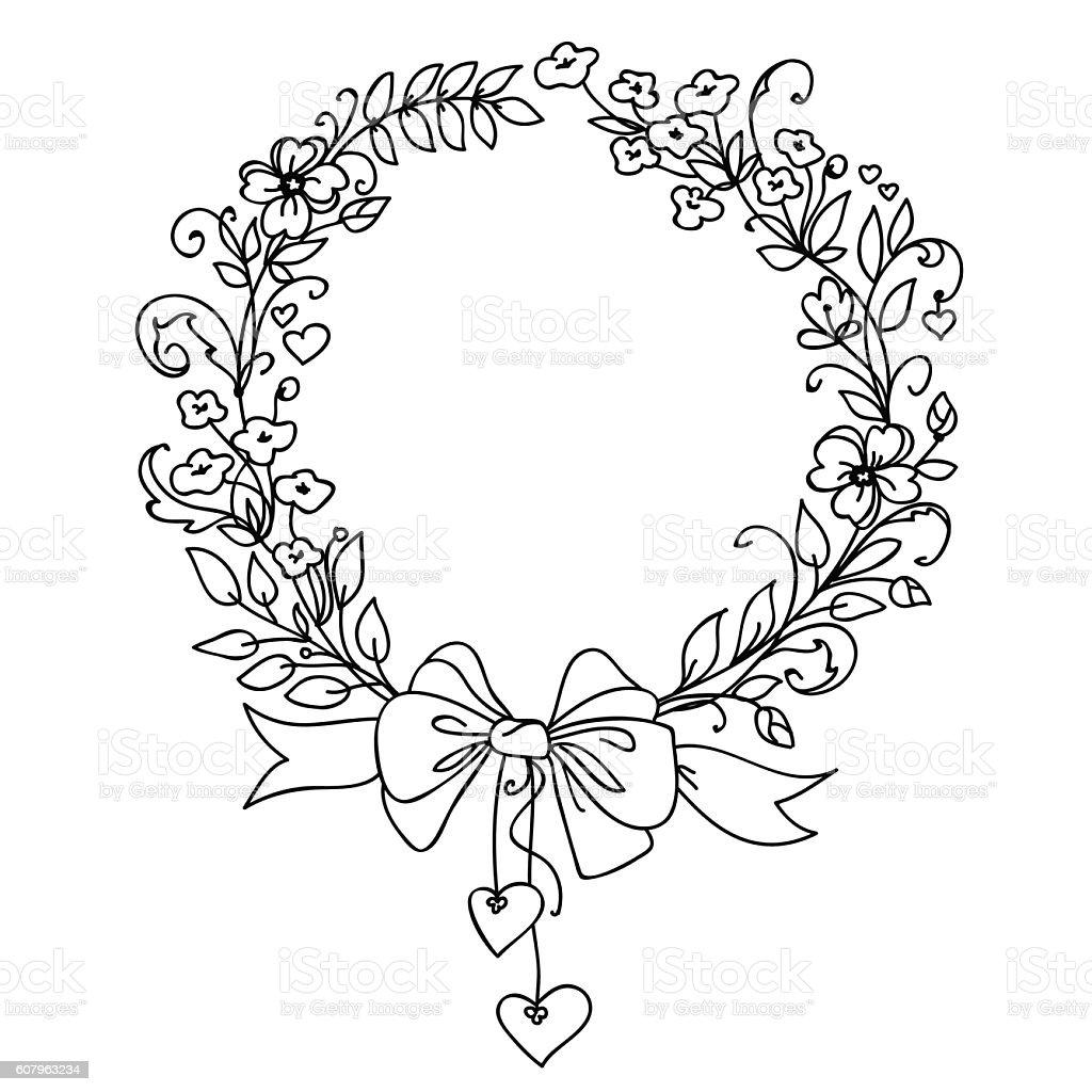 Floral vintage hand drawn vector wreath. vector art illustration