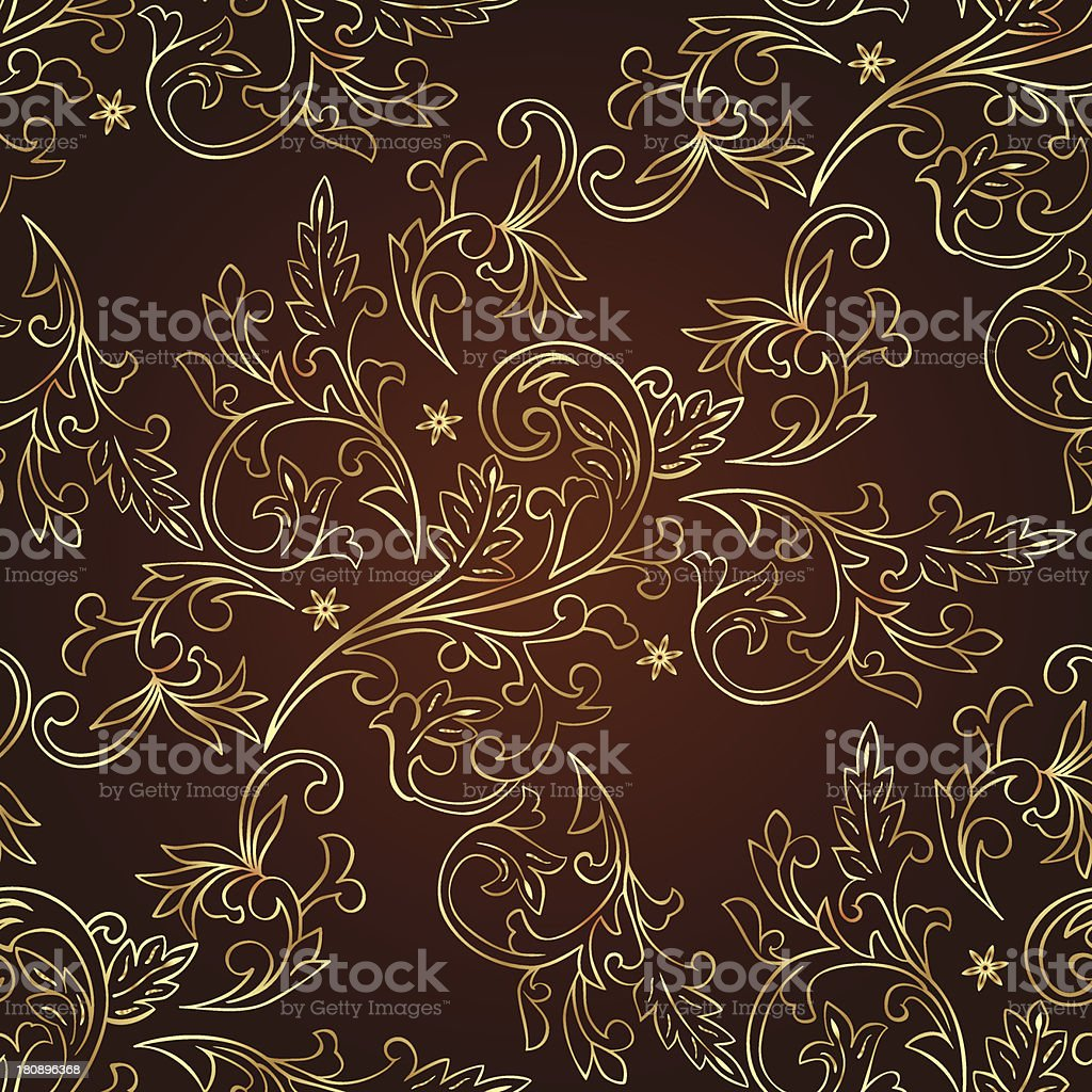 Floral vintage seamless pattern on brown background royalty-free stock vector art