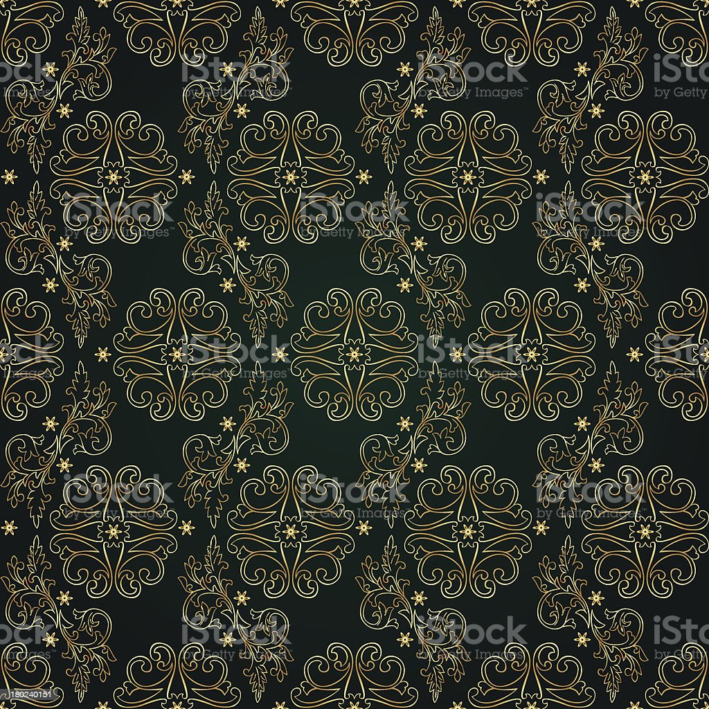 Floral vintage seamless pattern on green background royalty-free stock vector art