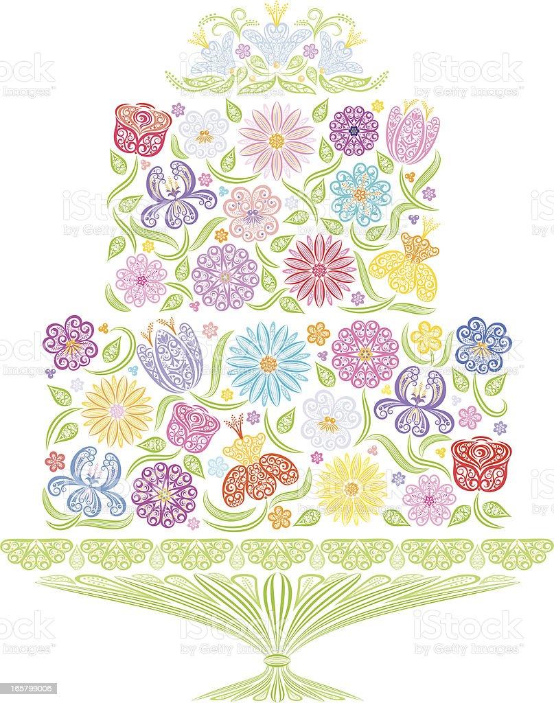 Floral Wedding Cake royalty-free stock vector art