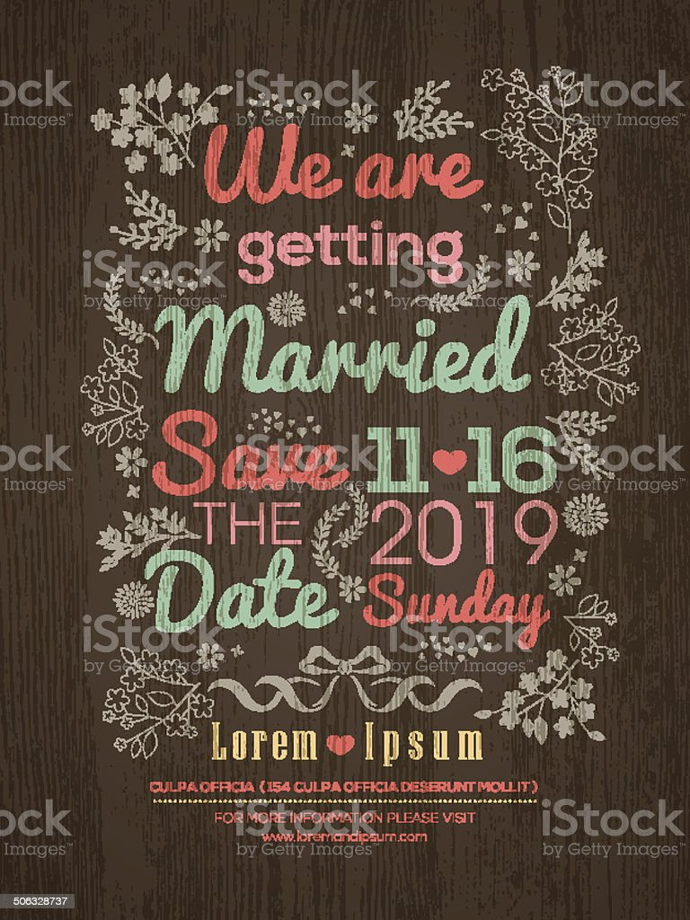 Floral Wedding invitation card design template vector art illustration
