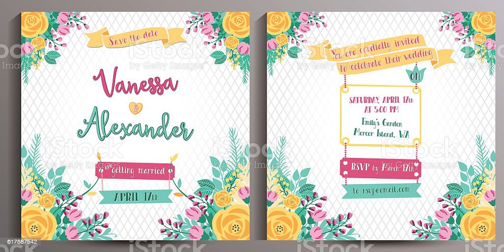 Floral Wedding Invitation. Double sided square card 14.5 cm vector art illustration