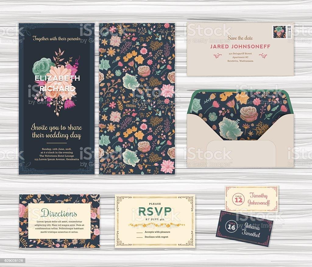 Floral Wedding Invitation Template Set vector art illustration