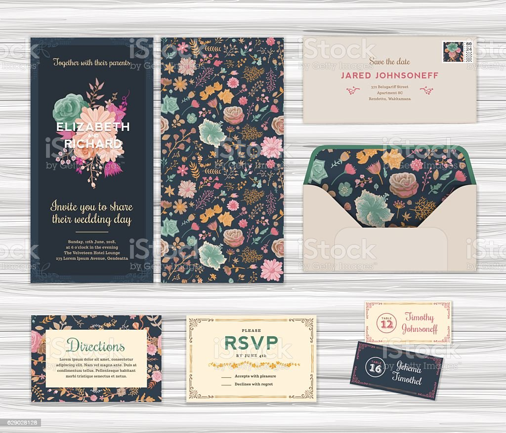 Floral Wedding Invitation Template Set vector art illustration