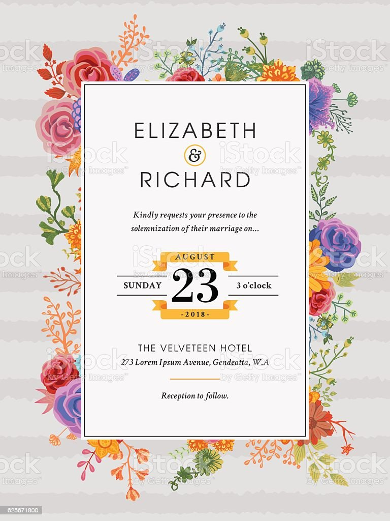 Floral Wedding Invitation Template stock vector art