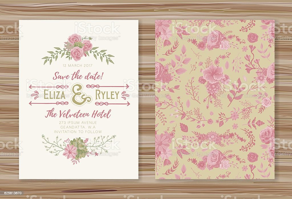 Floral Wedding Invitation Template vector art illustration