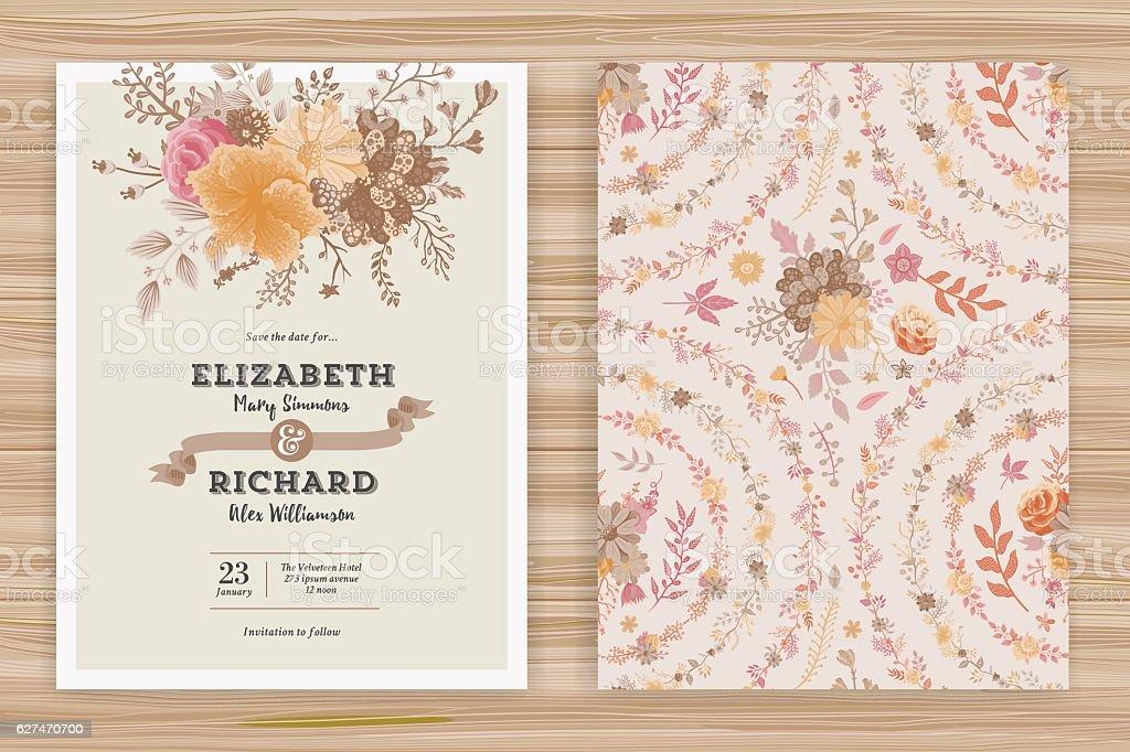 Floral Wedding Invitation Template vector art illustration