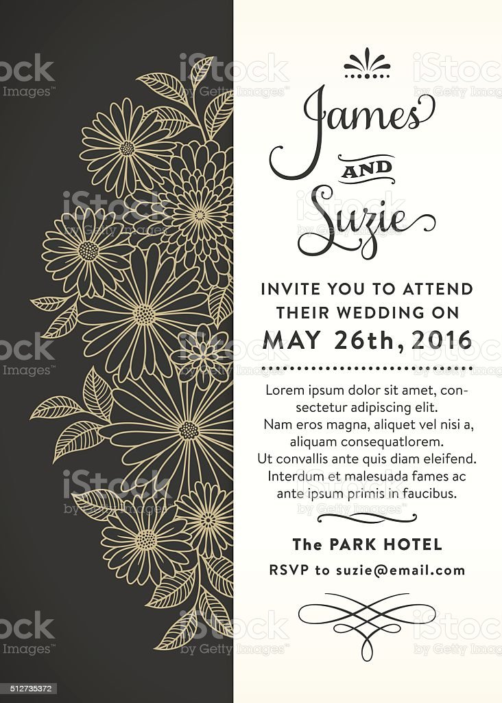Floral Wedding Invitation vector art illustration