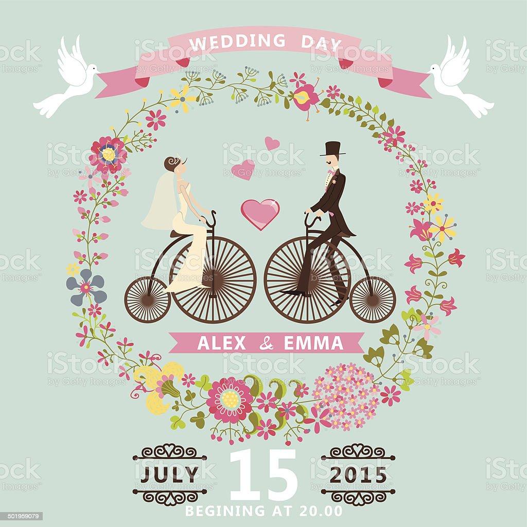 Floral wedding invitation.Bride , groom on retro bike vector art illustration