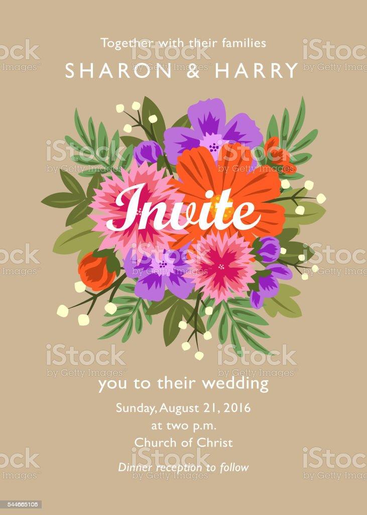 Floral Wedding Invitations vector art illustration