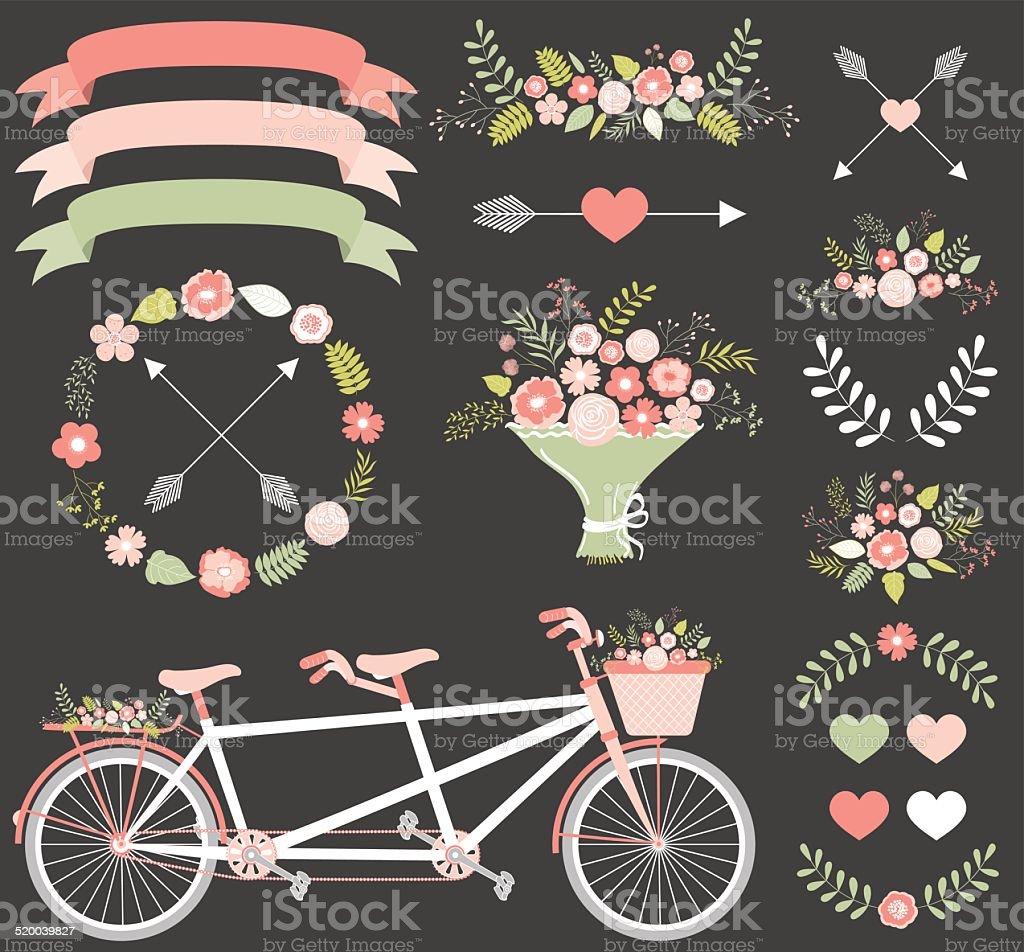 Floral wedding set vector art illustration