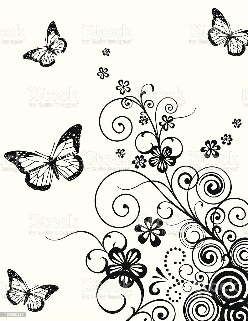 Floral with butterfly background royalty-free stock vector art