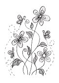 Floral with butterfly. Doodle style.