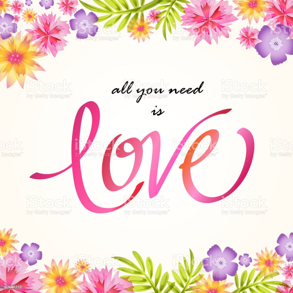 Floral with love lettering vector art illustration