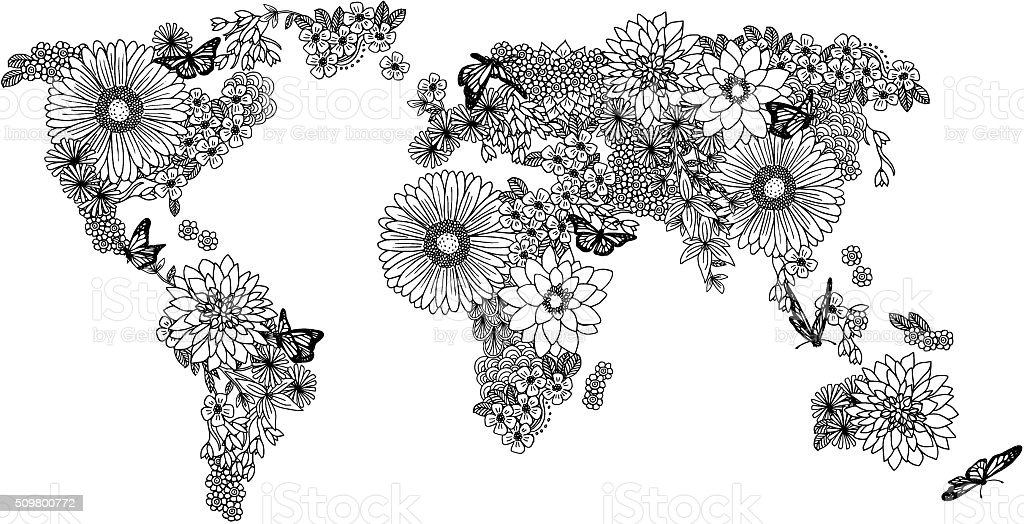 Floral world map for coloring books vector art illustration