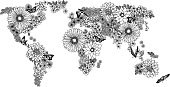 Floral world map for coloring books