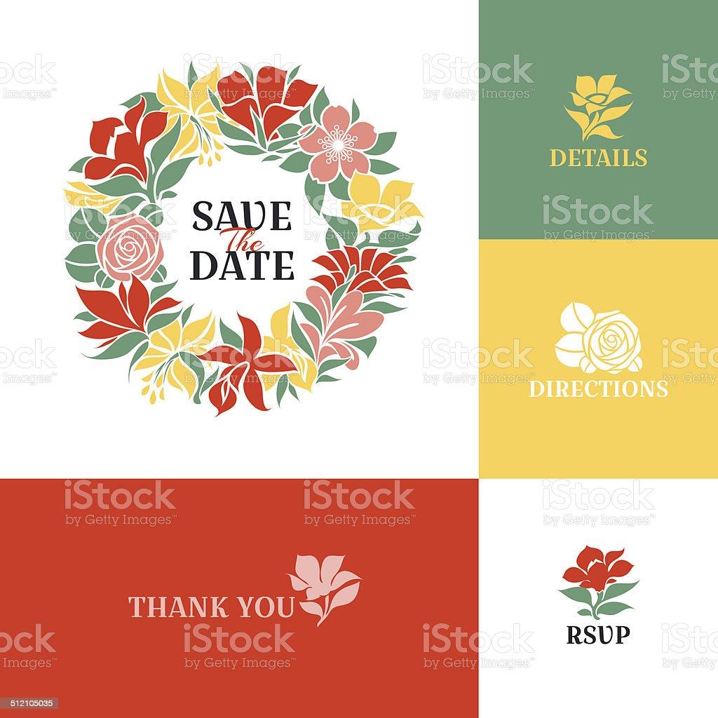 Floral wreath. Flat colorful design vector art illustration