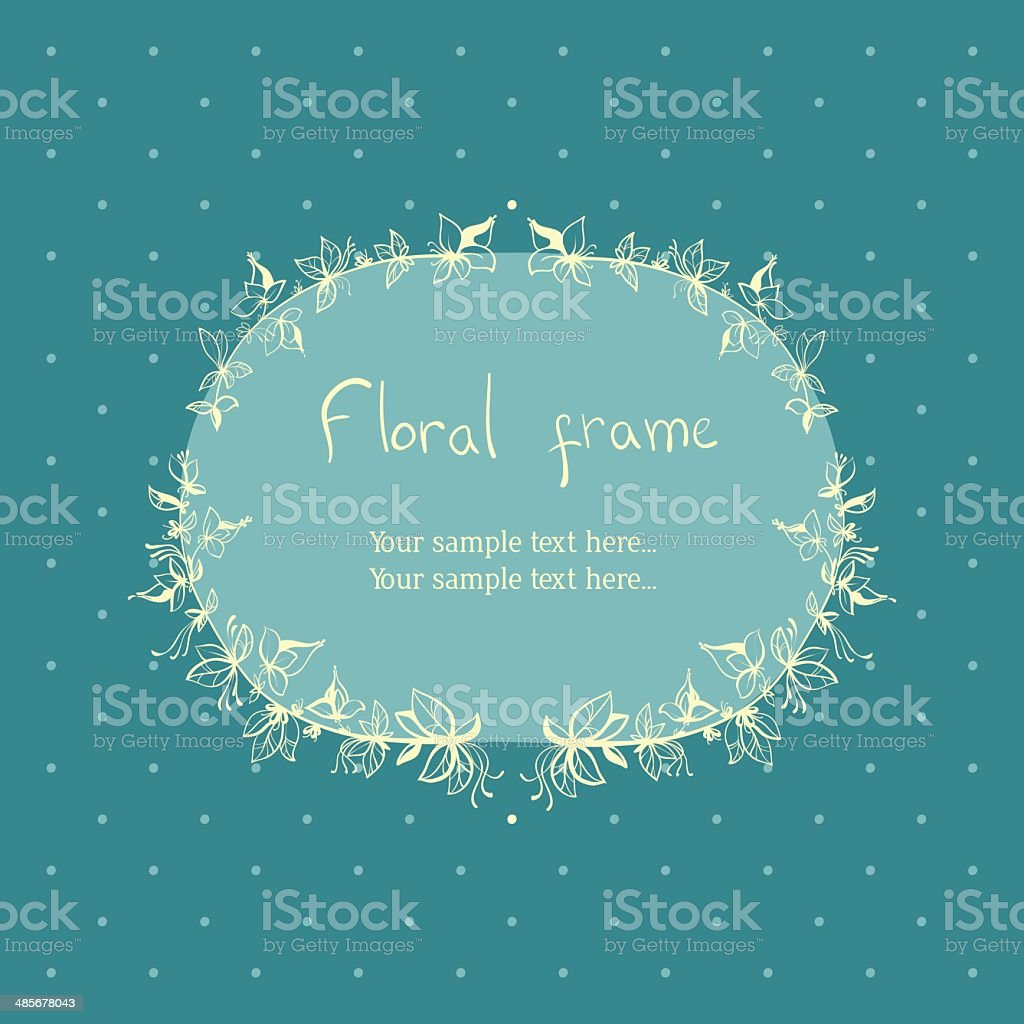 floral wreath frame for text royalty-free stock vector art
